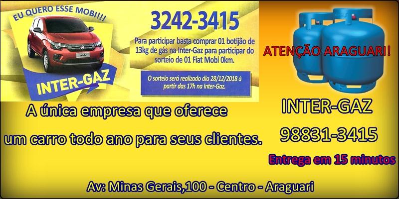 Olá pessoal de Araguari, vejam só quem está comigo: INTER-GAZ - a única da cidade que sorteia um carro por ano. Eu super recomendo...
