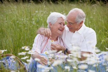 619-00676211 Model Release: Yes Property Release: No Senior couple sitting together outdoors