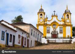 view of the church on a streets of the famous historical town Tiradentes, Minas Gerais, Brazil